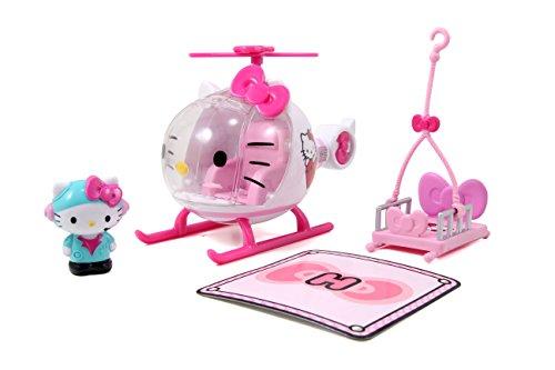41fcXQS5GoL Helicóptero de juguete de Hello Kitty diseñado en colores brillantes rosa y blanco, recomendado para niños a partir de 3 años Equipado con una cabina de cristal cuyo parabrisas puede abrirse muy fácilmente; una pequeña figura de Hello Kitty toma su lugar en la palanca de conducción y tiene todo bajo control La camilla se puede sujetar a la parte inferior del helicóptero para poder despegar sin problemas