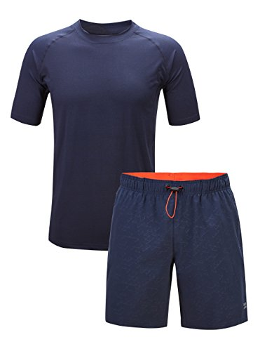 ZITY Moisture Wicking T Shirt and Shorts for Men,Athletic Short Sleeve T-Shirts & Shorts Navy S