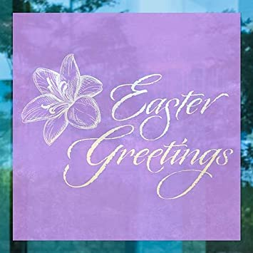 Square Window Cling 5-Pack Easter Greetings 16x16 CGSignLab