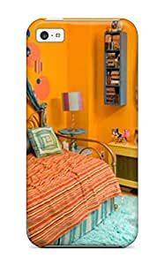 New Fashion Premium Tpu Case Cover For Iphone 5c - Bright Orange Kids Bedroom With Fun Blue Rug And Accents