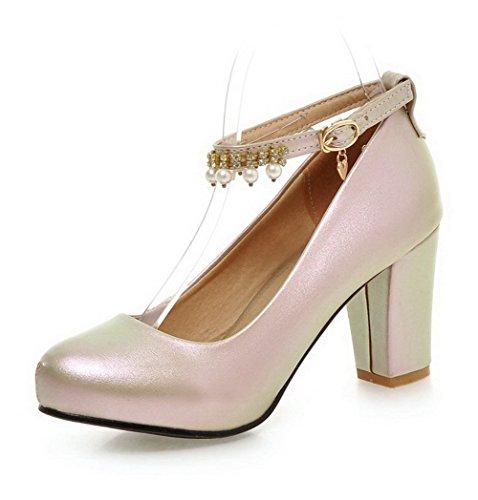 AllhqFashion Damen Rund Zehe Weiches Material Rein Schnalle Pumps Schuhe Golden