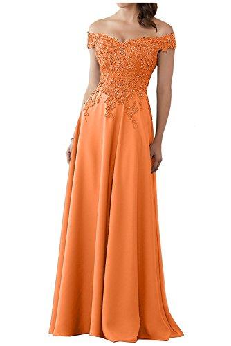 Spitze Charmant Brautmutterkleider Abendkleider Promkleider Abschlussballkleider Schulterfrei Lang Orange Damen Kurzarm Yw6YqrZ