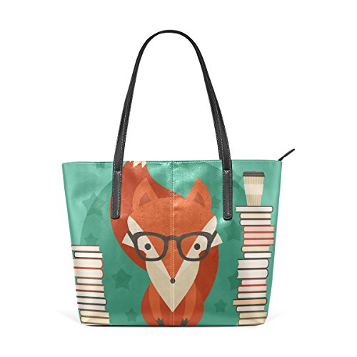 Coosun Fox In Glasses With Many Books Pu Leather Handbag Bags Purse And Tote Bag For Women Means Muticolour