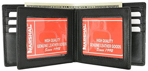 Mens Bifold Leather Wallet Middle Flaps Double ID Window NEW