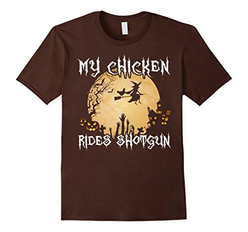 Mens Halloween Costumes Chicken Shirt - My Chicken Rides Shotgun XL Brown (Man Riding Chicken Costume)
