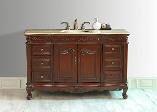 - Stufurhome GM-5110-56-TR 56-Inch Princeton Single Vanity in Dark Cherry Finish with Marble Top in Travertine with White Undermount Sink