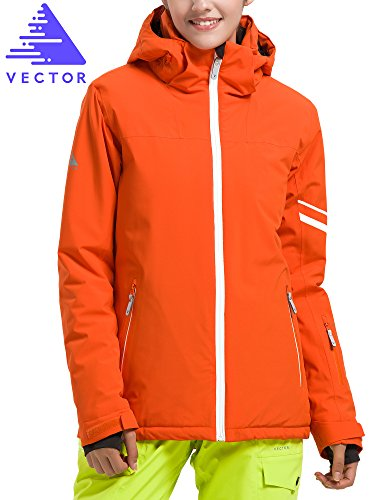 VECTOR TPU Waterproof Windproof Cotton Padded Thermal Winter Coat Parkas Snowboard Snowmobile Ski Jacket for Women,Orange US-S/Asian Tag-M