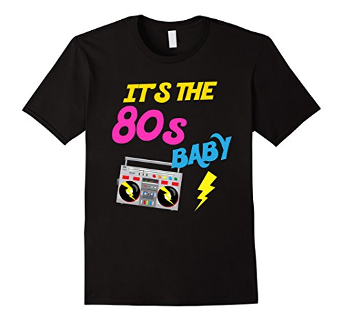 [Men's I Love The 80s Shirt Eighties Gift T-Shirt for Men and Women Large Black] (80s Costumes For Family)