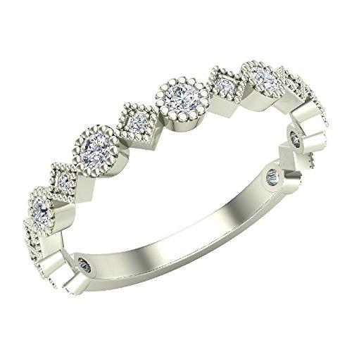 Square Stacking Ring (Stacking Circle and Squares Milgrain Round Cut Diamond Band Wedding Ring 0.32 carat total weight 14K White Gold (Ring Size 4.5))