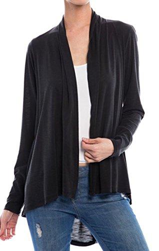 Fashion Café Women's Organic Fabric Solid Draped Style (Cafe Cardigan)
