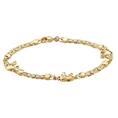 "Cheap Yellow Gold Tone Elephant Ankle Bracelet 10"" for cheap"