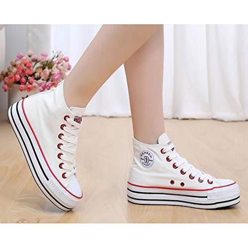 Gruesos D Clásicos A Cordones Blanco Con color Ewet Para Zapatos Verano Tamaño 35 Muffin Encaje Fondo Lona De Mujer Pequeños xtqzwHS1