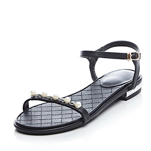 Allhqfashion Donna Materiale Morbido Sandali Con Fibbia Open Toe Sandali Aperti Neri