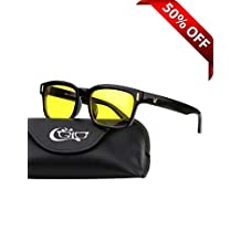 CGID CT12 Blue Light Blocking Glasses, Anti Glare Fatigue Blocking Headaches Eye Strain, Safety Glasses for Computer/Phone, Vintage Rectangle Black Frame,Transparent Lens