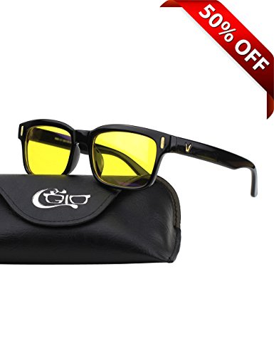CGID CY84 Computer Glasses Readers Reading Video Gaming Glasses of Anti Blue Light Eye Strain and UV Light,Vintage Rectangle Black Frame,Yellow - Sunglasses Screen Computer