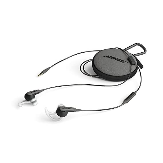 Bose SoundSport in-ear headphones for Samsung and Android devices, Charcoal 5 Deep, clear sound enhanced by exclusive TriPort technology for crisp highs and natural sounding lows.Connectivity Technology: Wired Proprietary Stay Hear tips, in three sizes, conform to your ear's shape to stay comfortably in place all day If the ear tips falling off  securely attach the ear tips to the earpiece  and nozzle hook to properly adhere to the ear base