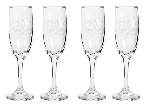 Tapered Champagne Flute Glasses, 6.25 oz - Happy New Year - Laser Engraved Text Gift - Set of Four