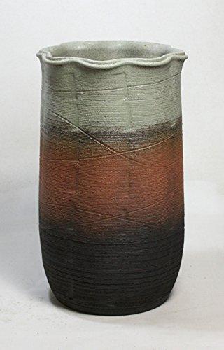 三色波口傘立 信楽焼 陶器 傘立て B01N9EFEM2