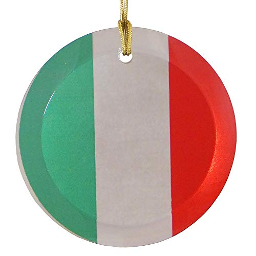 Christmas By Krebs Italian Flag Glass Medallion Ornament Suncatcher Home Décor, 3.5