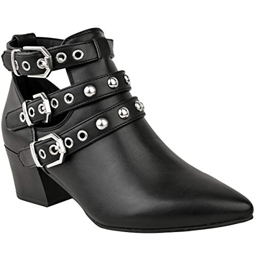 Fashion Thirsty New Womens Studded Low Block Heel Ankle Boots Party Evening Size Black Faux Leather / Cut Out