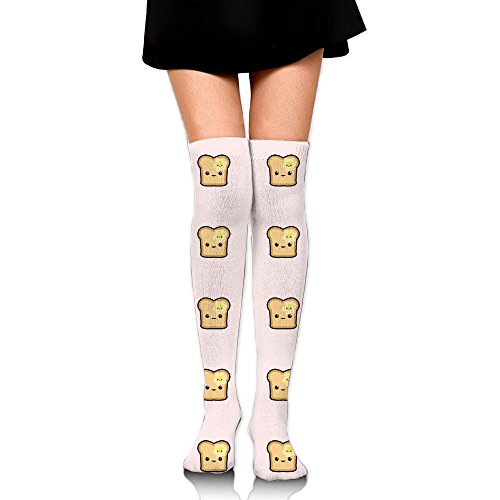 Unisex Adult Cute Toast Face Athletic Legs Wear Socks Tube Boot Dresses Over The Knee Compression Sports Socks Gym Socks Also For Home - Cute Outfits Indie