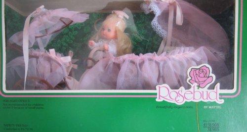 Bows Bassinet - Vintage ROSEBUD DOLL PLAYSET w BABY WHITE STAR ROSE Doll, CANOPY BASSINET & CANOPY STROLLER (1977 Mattel Hawthorne)