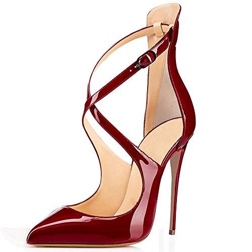 Stiletto Criss Cross Ankle Strap (Soireelady Women's High Heels Pumps Crisscross Strappy Stilettos 12CM Ankle Buckle Strap Heels Wine US6)
