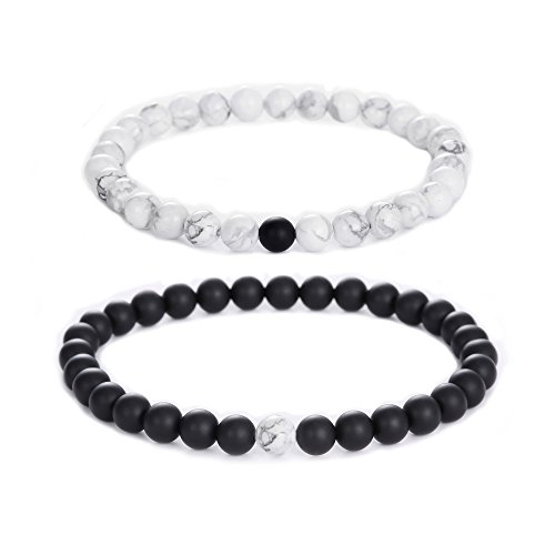 Distance Relationship Bracelets Howlite Lovers 2pcs