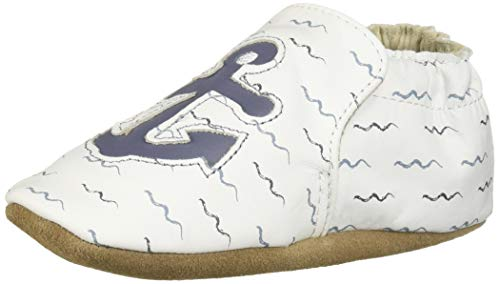 Robeez Boys' Soft Soles Crib Shoe, White, 12-18 Months
