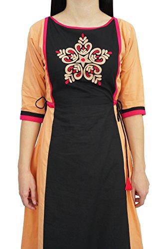 Ethnische Atasi Schwarz amp; Damenbekleidung Pfirsich Baumwolle Line Stickerei Kurti Designer A rqqxBwYg