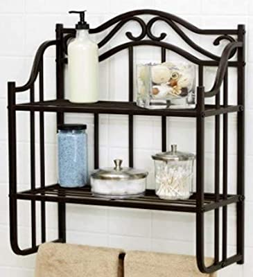 Bathroom Etagere Over Toilet Spacesaver, Floating Rack from Metal, Industrial 2-Tier Shelf Unit Oil Rubbed Bronze Finish Wall Mounted Storage Shelf with Towel Bar & E-Book