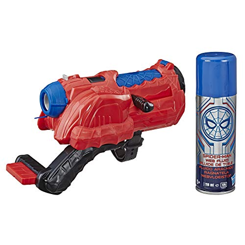 Spider Man Shooting Webs (Spider-Man: Far from Home Web Cyclone Blaster with Web Fluid - Roleplay Toy for Kids Ages 5 &)