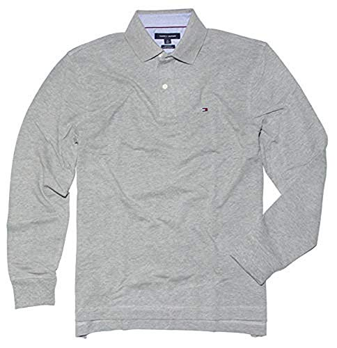 (Tommy Hilfiger Men's Long-Sleeve Classic-Fit Polo Shirt (M, 732 Sport Grey HTR))