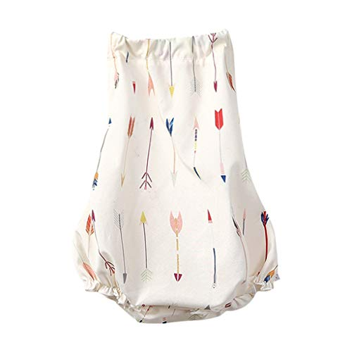 (LiLiMeng Newborn Infant Baby Girls Deer Arrow Geometric Print Bownot Suspender Backless Romper Bodysuits Playsuit Outfits)