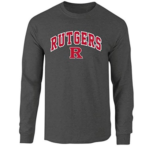 Elite Fan Wisconsin Badgers Mens Long Sleeve Arch Tee Shirt XX Large Dark Heather