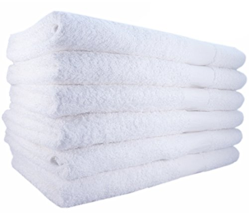Hotel-Spa-Pool-Gym Cotton Hair & Bath Towel – 12 Pack, White, Super Soft, Easy Care, Ringspun Cotton for Maximum Softness and Absorbency (22