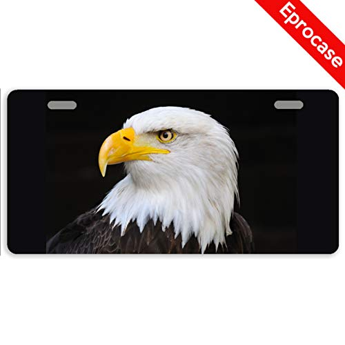 Eprocase License Plate Bald Eagle License Plate Cover Decorative Car Tag Sign Metal Auto Tag Novelty License Plate 2 Holes (11.8