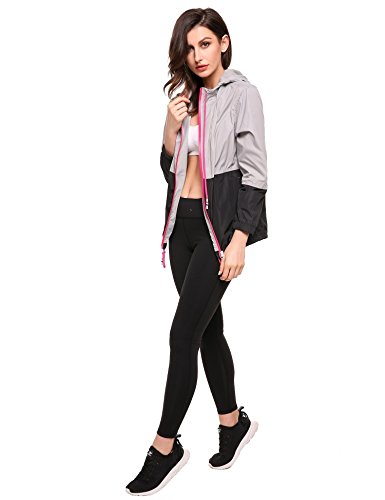 Capucha Mujer negro Cortovientos Impermeable Manga con Chaqueta Lonlier Larga Casual tq8zWTcw