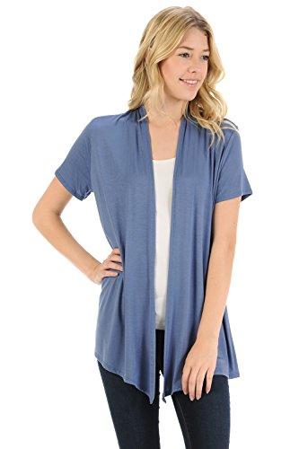(Pastel by Vivienne Women's Short Sleeve Open Front Vest X-Large Denim)