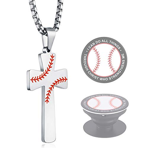 XIEXIELA Baseball Cross Necklace. Stainless Steel Cross Pendant for Boys Men.I CAN DO All Things Strength Bible Verse Softball Lover Silver]()