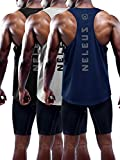Neleus Men's 3 Pack Dry Fit Muscle Tank Workout Gym Shirt,5031,Black,Navy,Grey,L,EU XL