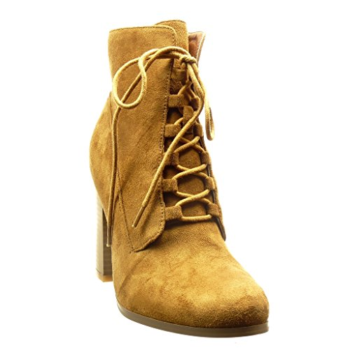 Fashion 9 Heel 5 Booty Camel high Shoes Women's cm Block high Angkorly Boots Ankle Laces xZ45wBS