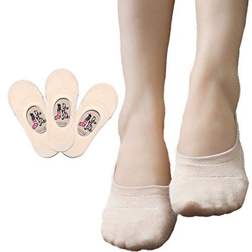 Dearmy Women No Show Athletic Socks - Premium Cotton | Non-Slip No Show Socks (5~6.5, beige 3 Pairs)