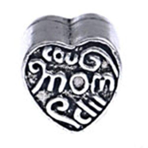 Pendant Jewelry Making Antiqued Silver MOM Mother 9mm Scrolled Heart Large 5mm Hole European Charm Bead