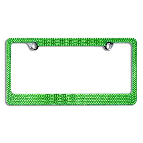 BLVD-LPF OBEY YOUR LUXURY  Popular Bling 7 Row Crystal Metal Chrome License Plate Frame with Screw Caps (1, Green)