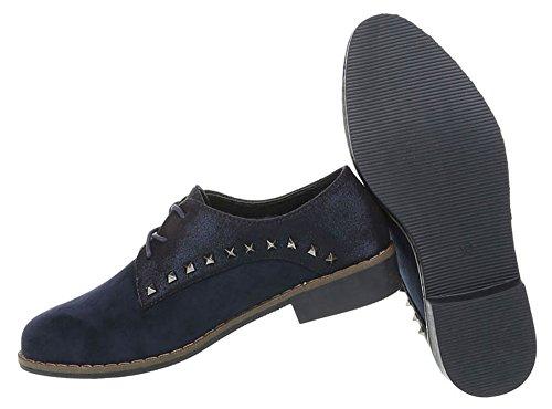 Damen Schuhe Halbschuhe Schnürer Dunkelblau