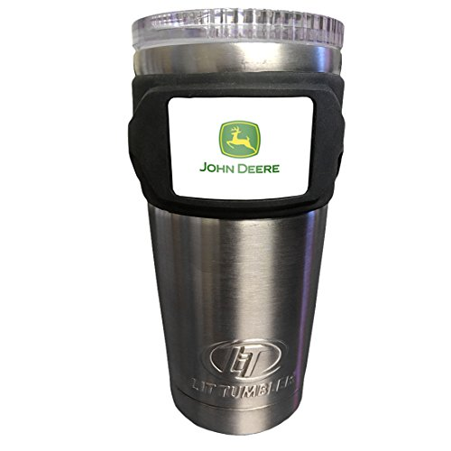 John Deere LiT Stainless Steel Agricultural Logo Travel Tumbler 20oz Water Bottle, Medium, Silver