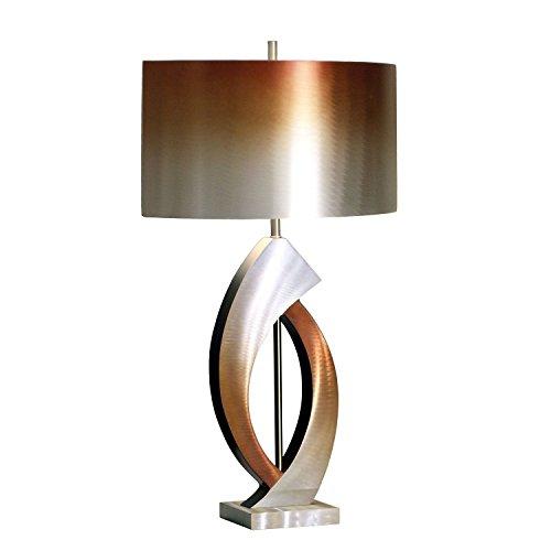 NOVA of California 10640 Swerve Metal Table Lamp, Silver & Bronze Finish, Unique Modern Lighting for Living Room, Den, Family Room, Office, Bedroom