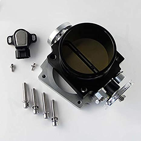 Shumo 90Mm Reverse Throttle Body with TPS Sensor for 1JZ Black Silver