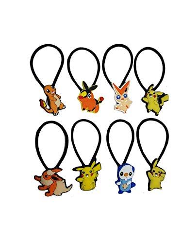 AVIRGO 8 pcs Elastic Hair Bands Hairband Ponytail Set # 117 - 5 - Calem Pokemon Costume